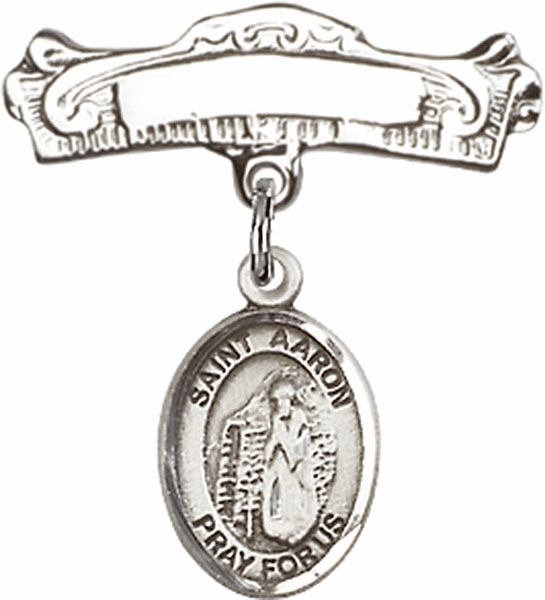 Bliss Baby Arched Badge Pin with St Aaron Charm