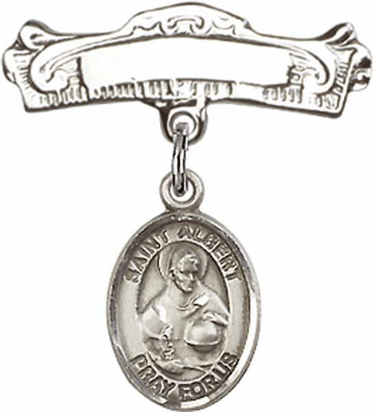 Bliss Baby Arched Badge Pin with St Albert the Great Charm