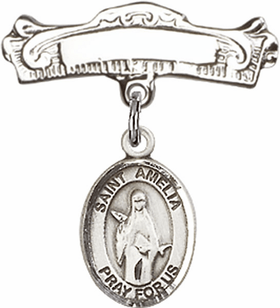 Bliss Baby Arched Badge Pin with St Amelia Charm