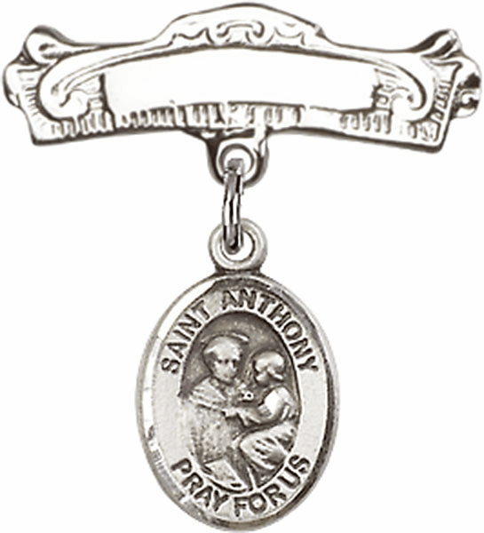 Bliss Baby Arched Badge Pin with St Anthony of Padua Charm