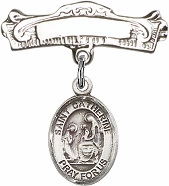 Bliss Baby Arched Badge Pin with St Catherine of Siena Charm
