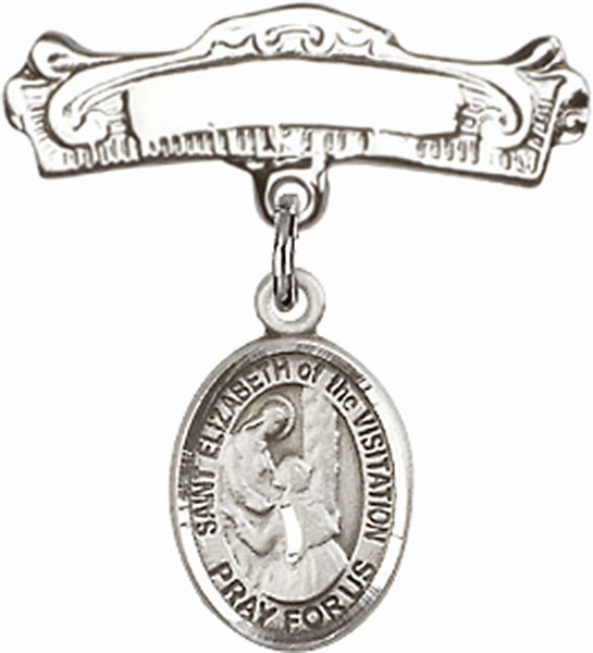 Bliss Baby Arched Badge Pin with St Elizabeth of the Visitation Charm