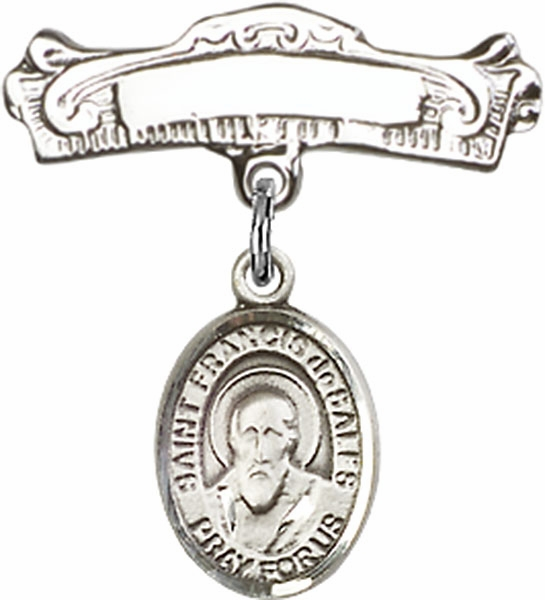 Bliss Baby Arched Badge Pin with St Francis de Sales Charm