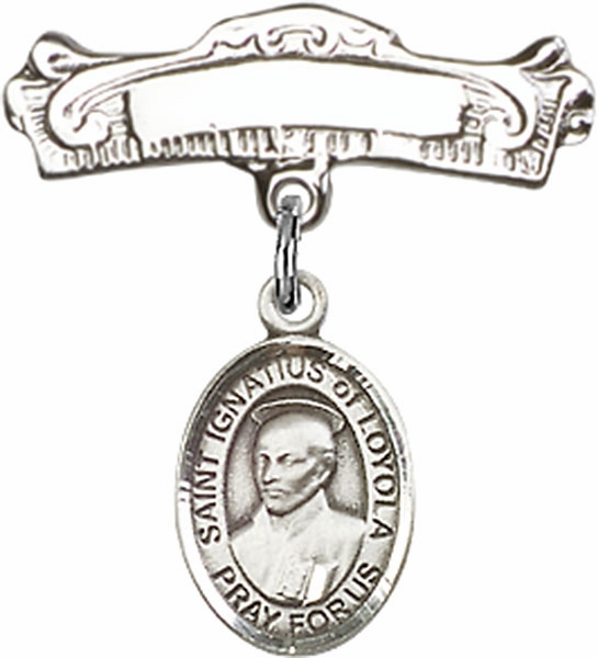 Bliss Baby Arched Badge Pin with St Ignatius of Loyola Charm