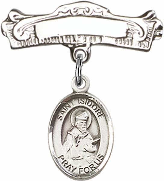 Bliss Baby Arched Badge Pin with St Isidore of Seville Charm