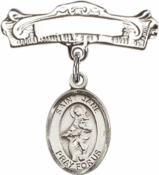 Bliss Baby Arched Badge Pin with St Jane of Valois Charm