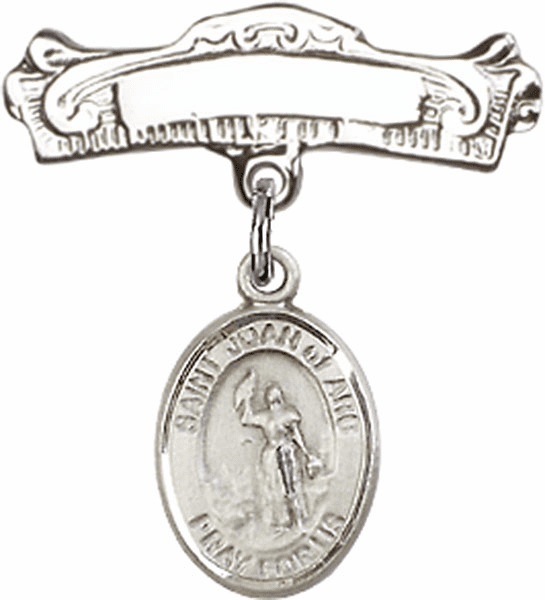 Bliss Baby Arched Badge Pin with St Joan of Arc Charm
