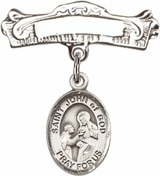 Bliss Baby Arched Badge Pin with St John of God Charm