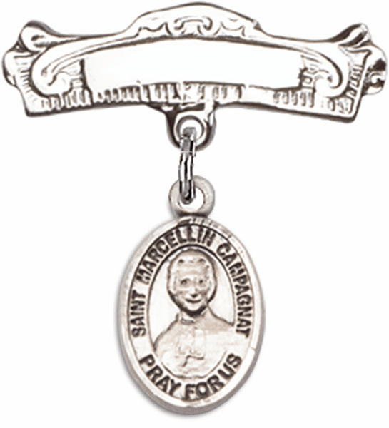 Bliss Baby Arched Badge Pin with St Marcellin Champagnat Charm