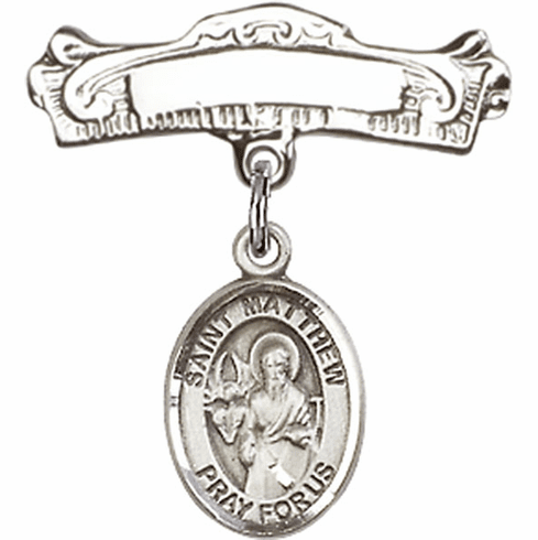 Bliss Baby Arched Badge Pin with St Matthew the Apostle Charm