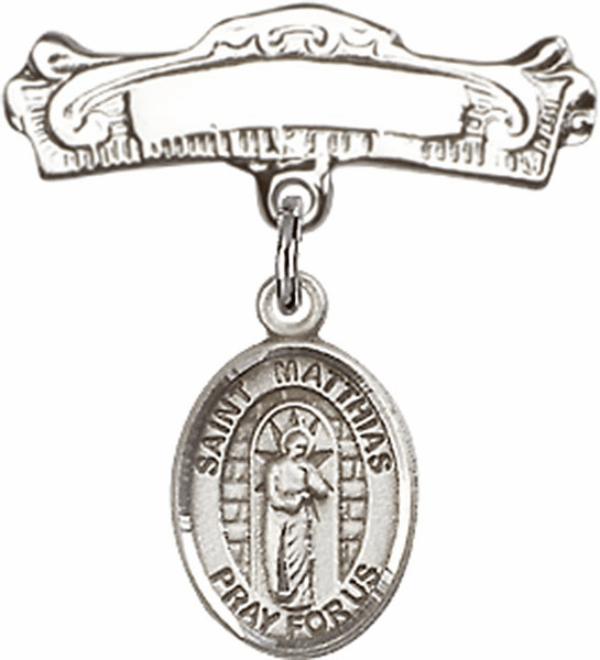 Bliss Baby Arched Badge Pin with St Matthias the Apostle Charm