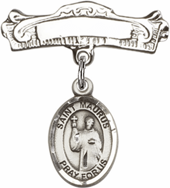 Bliss Baby Arched Badge Pin with St Maurus Charm