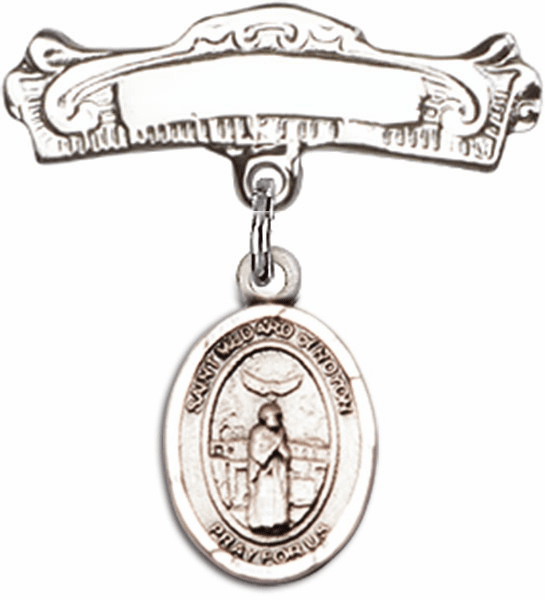 Bliss Baby Arched Badge Pin with St Medard of Noyon Charm