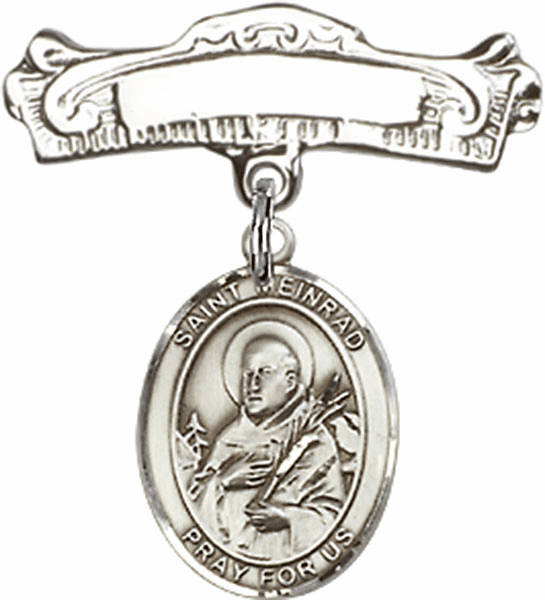 Bliss Baby Arched Badge Pin with St Meinrad of Einsideln Charm