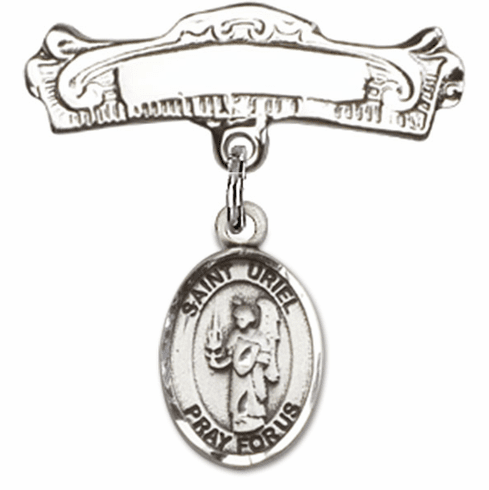 Bliss Baby Arched Badge Pin with St Uriel the Archangel Charm