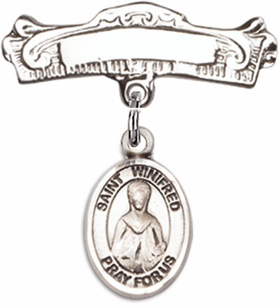 Bliss Baby Arched Badge Pin with St Winifred of Wales Charm