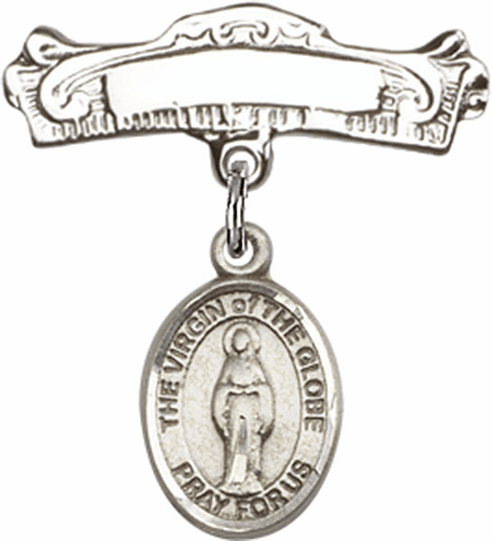 Bliss Baby Arched Badge Pin with Virgin of the Globe Charm