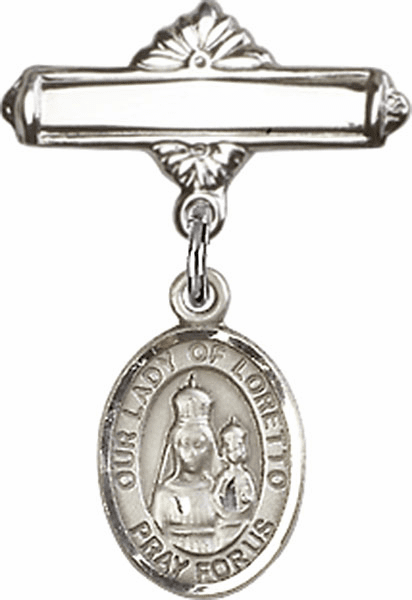 Bliss Baby Badge Label Pin with Our Lady of Loretto Charm