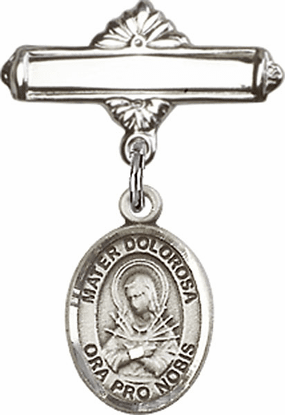 Bliss Baby Badge Label Pin with Our Lady of Sorrows - Mater Dolorosa Charm
