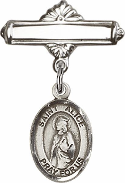 Bliss Baby Badge Label Pin with St Alice Charm