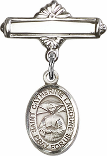Bliss Baby Badge Label Pin with St Catherine Laboure Charm