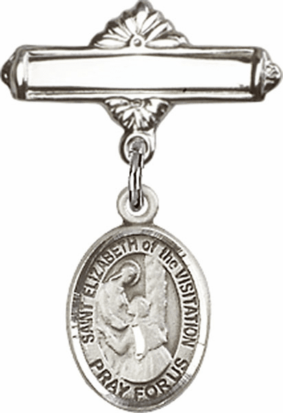 Bliss Baby Badge Label Pin with St Elizabeth of the Visitation Charm