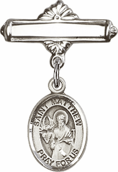 Bliss Baby Badge Label Pin with St Matthew the Apostle Charm