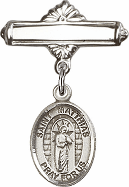 Bliss Baby Badge Label Pin with St Matthias the Apostle Charm