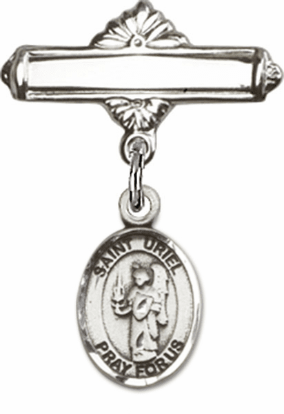Bliss Baby Badge Label Pin with St Uriel the Archangel Charm