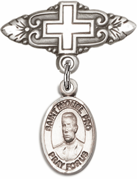 Bliss Baby Badge Pin with Cross with Blessed Miguel Agustin Pro Charm