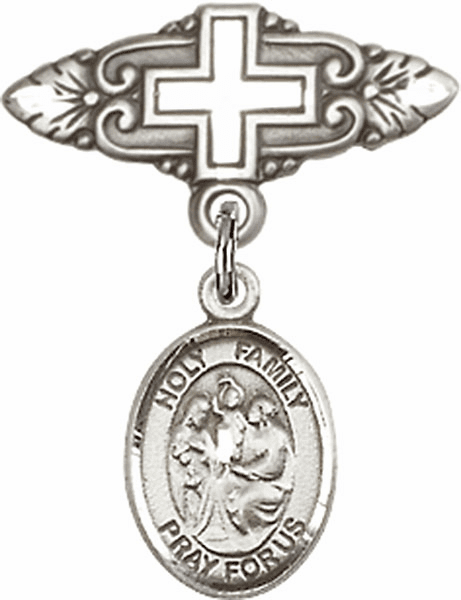 Bliss Baby Badge Pin with Cross with Holy Family Charm