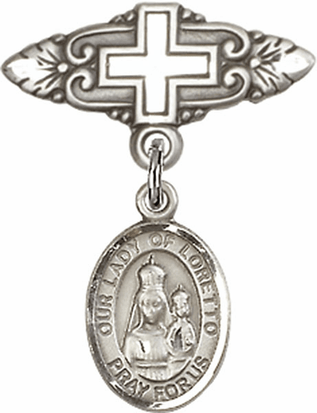 Bliss Baby Badge Pin with Cross with Our Lady of Loretto Charm