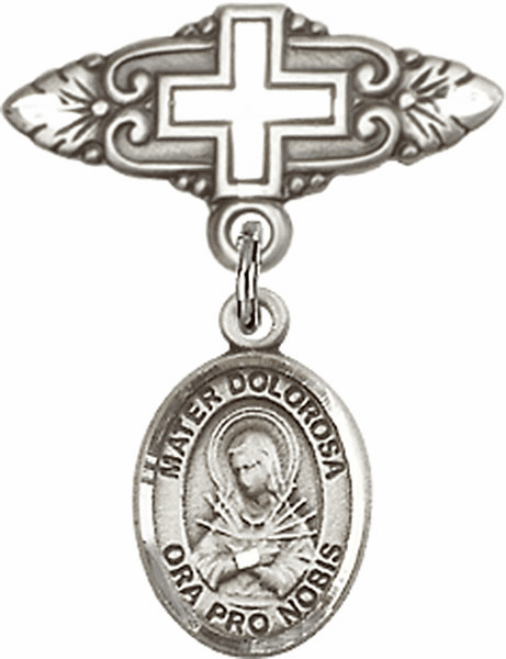 Bliss Baby Badge Pin with Cross with Our Lady of Sorrows - Mater Dolorosa Charm