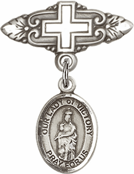 Bliss Baby Badge Pin with Cross with Our Lady of Victory Charm