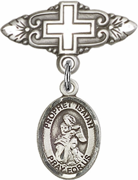 Bliss Baby Badge Pin with Cross with Prophet Isaiah Charm