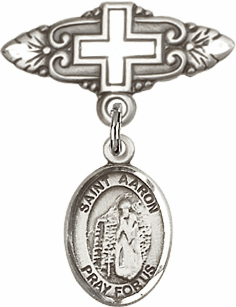Bliss Baby Badge Pin with Cross with St Aaron Charm