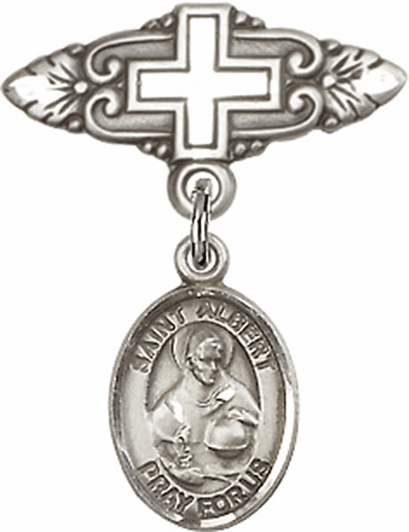 Bliss Baby Badge Pin with Cross with St Albert the Great Charm