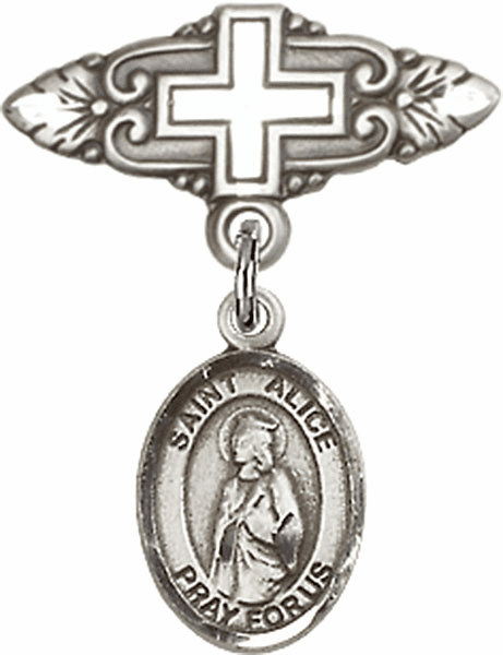 Bliss Baby Badge Pin with Cross with St Alice Charm