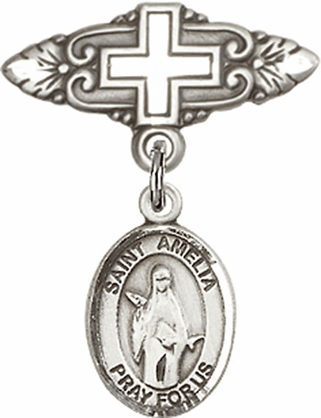Bliss Baby Badge Pin with Cross with St Amelia Charm