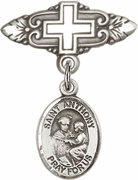 Bliss Baby Badge Pin with Cross with St Anthony of Padua Charm