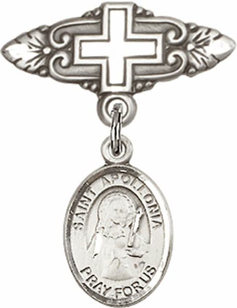 Bliss Baby Badge Pin with Cross with St Apollonia Charm