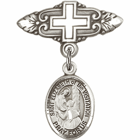 Bliss Baby Badge Pin with Cross with St Elizabeth of the Visitation Charm