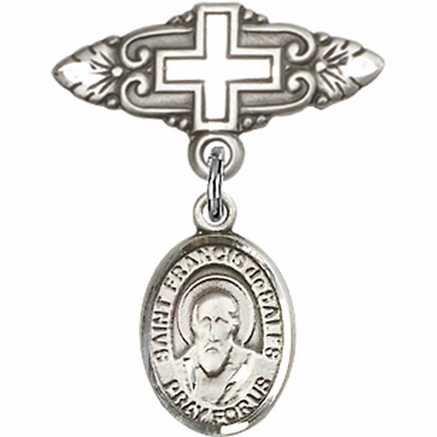 Bliss Baby Badge Pin with Cross with St Francis de Sales Charm