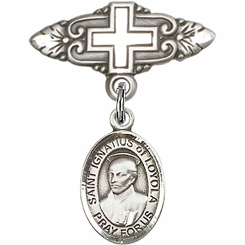 Bliss Baby Badge Pin with Cross with St Ignatius of Loyola Charm