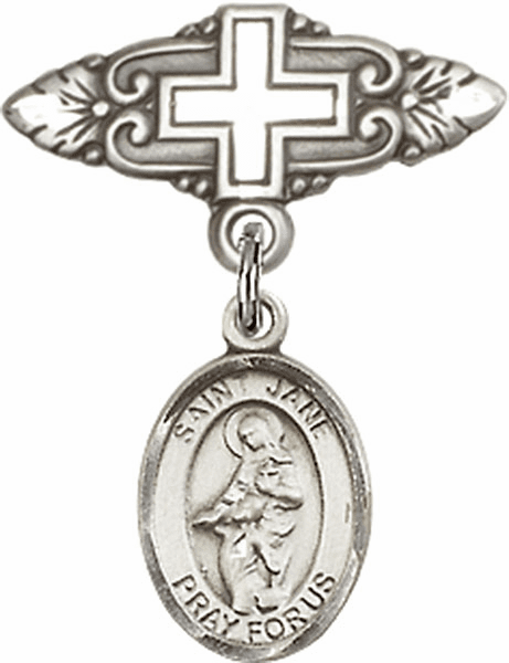 Bliss Baby Badge Pin with Cross with St Jane of Valois Charm