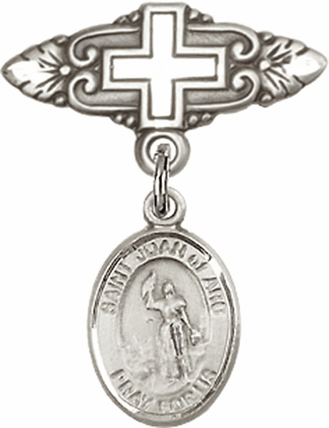 Bliss Baby Badge Pin with Cross with St Joan of Arc Charm
