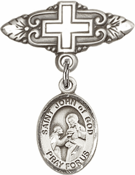 Bliss Baby Badge Pin with Cross with St John of God Charm