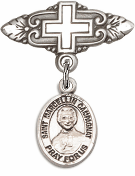Bliss Baby Badge Pin with Cross with St Marcellin Champagnat Charm