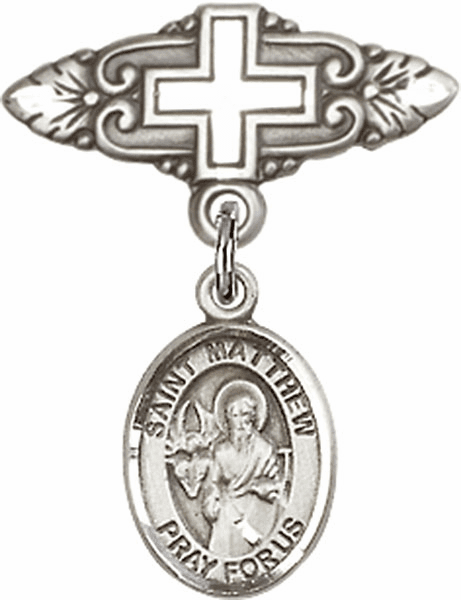 Bliss Baby Badge Pin with Cross with St Matthew the Apostle Charm