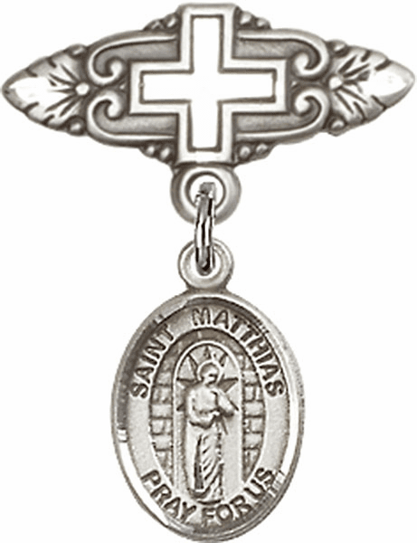 Bliss Baby Badge Pin with Cross with St Matthias the Apostle Charm